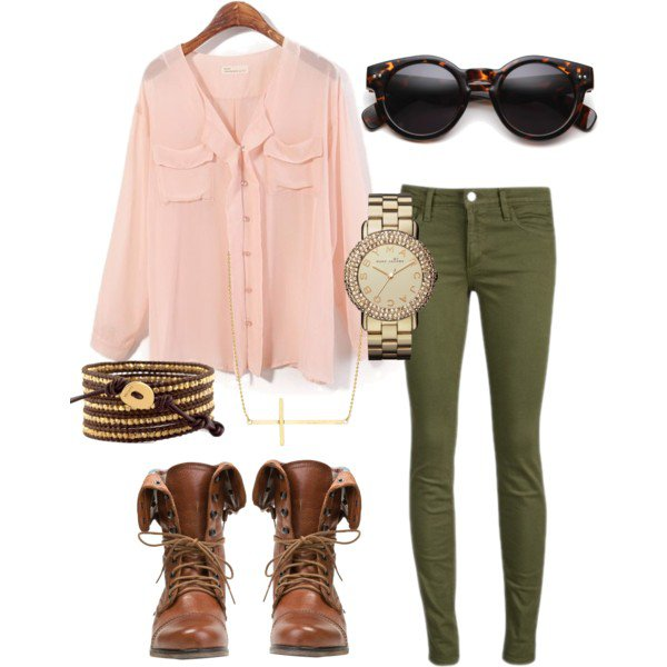 Rose Quartz Shirt and Army Green Jeans
