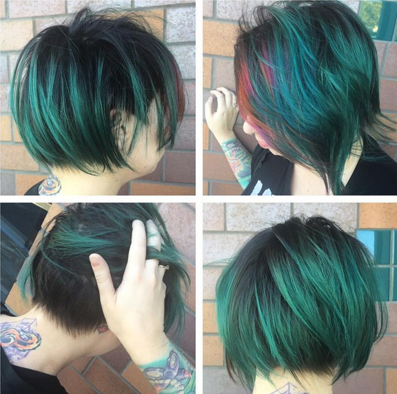 Short Bob Hairstyle with Blue Highlights