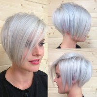 Short Pixie Haircut for Silver Grey Hair