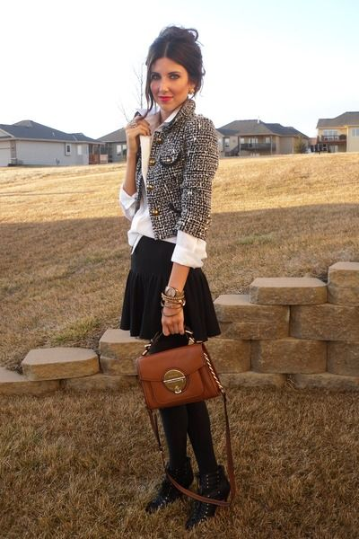 Short Tweed Blazer and Skirt