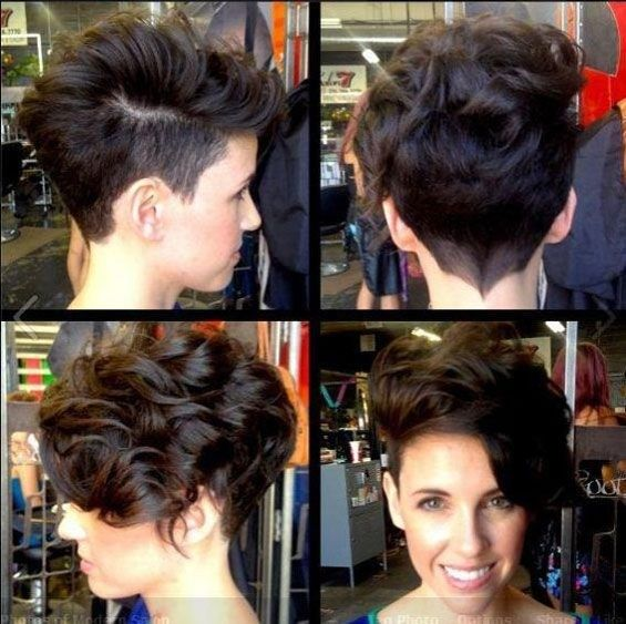 Side Swept Curly Pixie Hairstyle