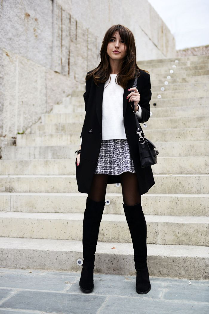 Skirt, Sweater and Knee-high Boots
