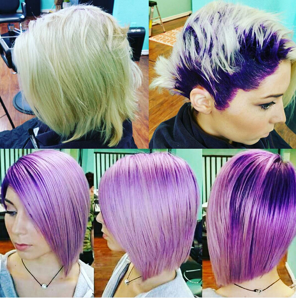 Straight Bob Haircut for Purple Hair