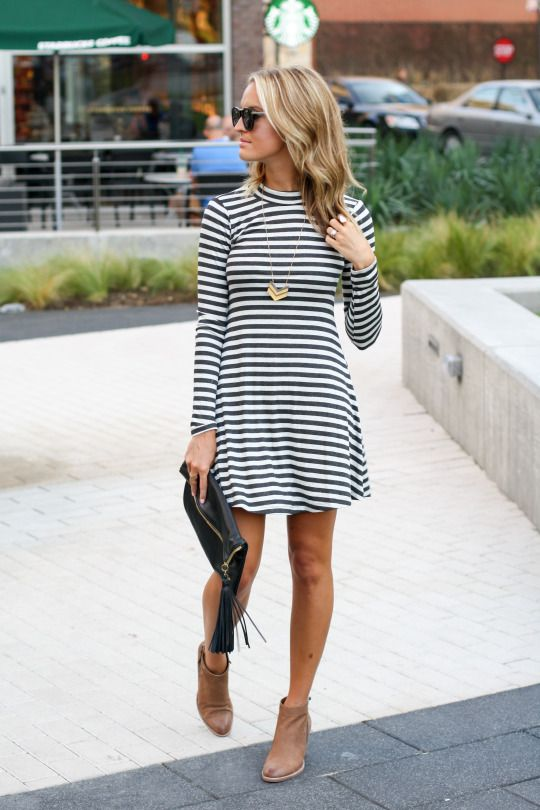 Striped Dress and Brown Boots