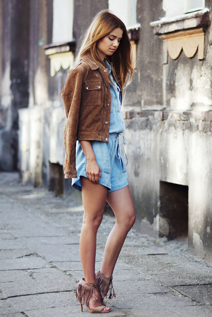 Suede Coat and Suede Fringe Heeled Sandals