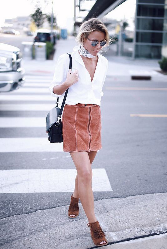 Suede Pencil Skirt and Suede Fringe Sandals