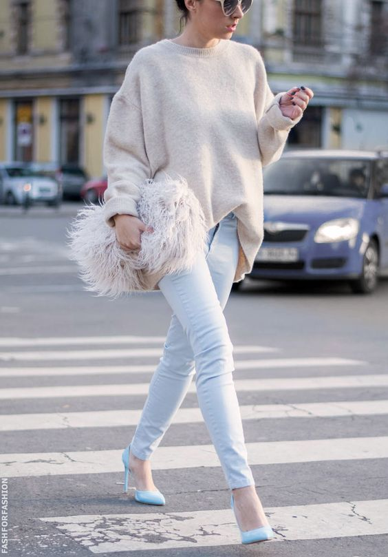 Sweater and Pale Blue Jeans