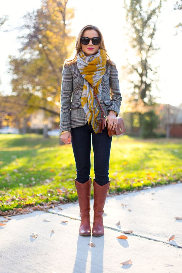 Tartan Blazer and Long Boots