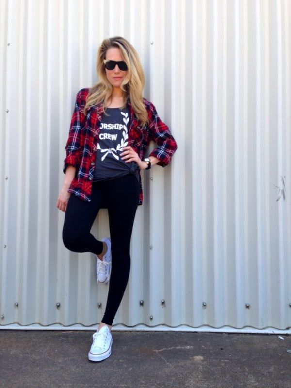 Tartan Shirt and Sneakers