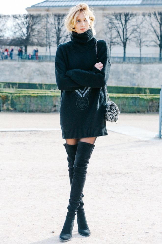 Turtleneck Sweater and Knee-high Boots