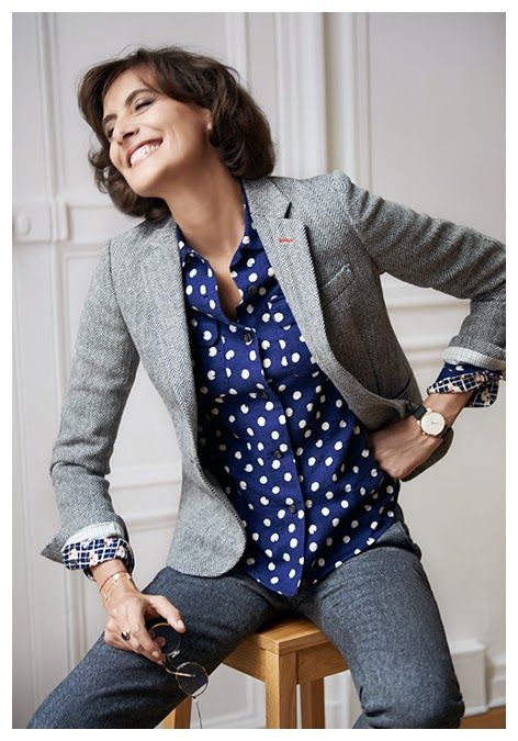 Tweed Blazer and Blue Shirt with White Dots