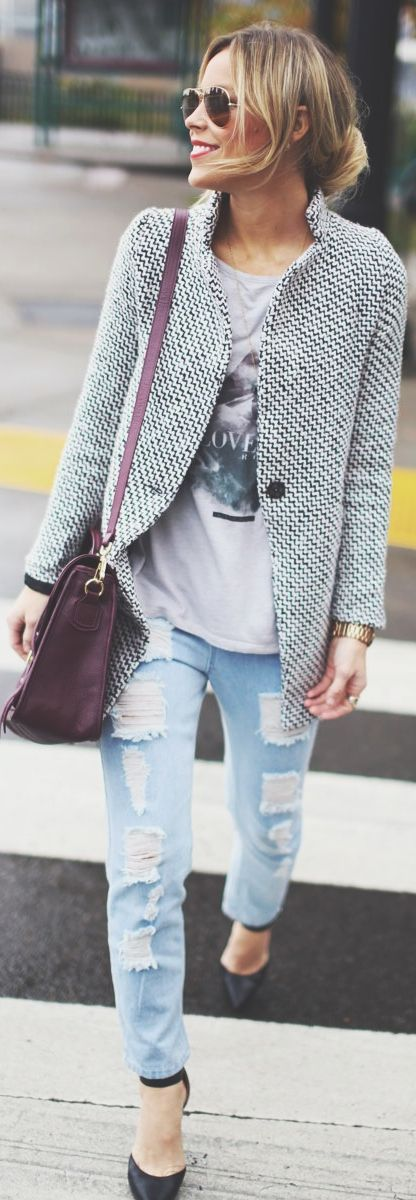 Tweed Blazer and Cut-out Jeans