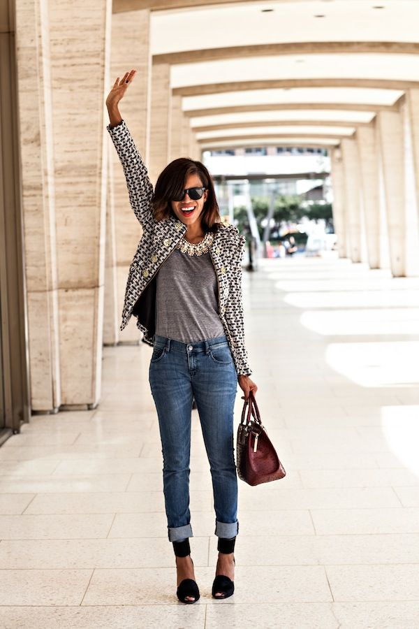 Tweed Blazer and Jeans