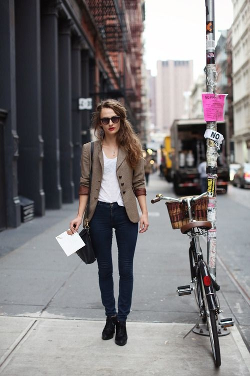 Tweed Blazer and Skinny Jeans