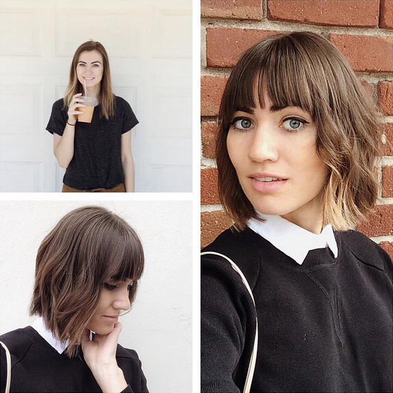 Wavy Bob Hairstyle with Bangs