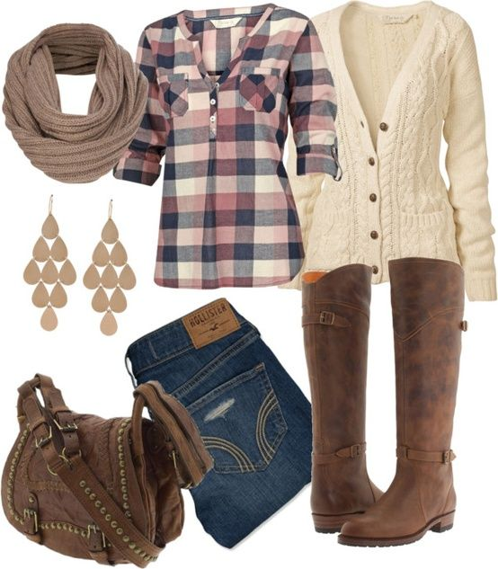 White Cardigan and Brown Boots