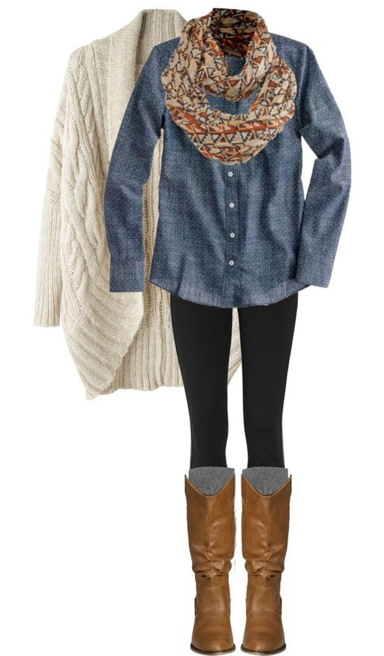 White Cardigan and Denim Outfit