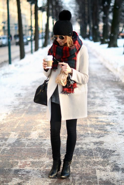 White Coat and Tartan Scarf
