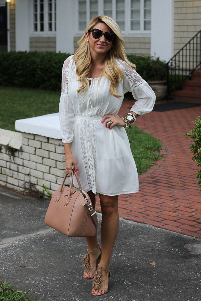 White Dress, Brown Fringe Sandals and Brown Bag