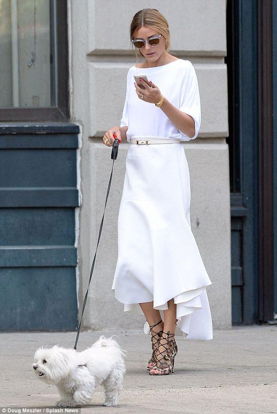 White Dress and Metallic Cage Heels