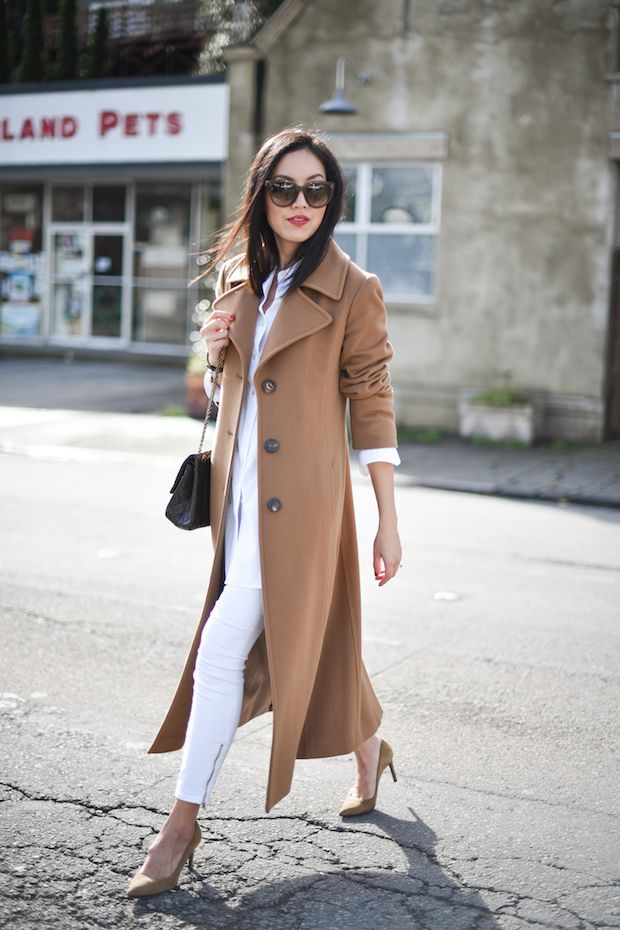 White Outfit and Camel Coat