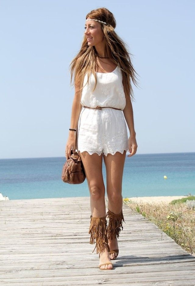 White Outfit and Fringe Sandals