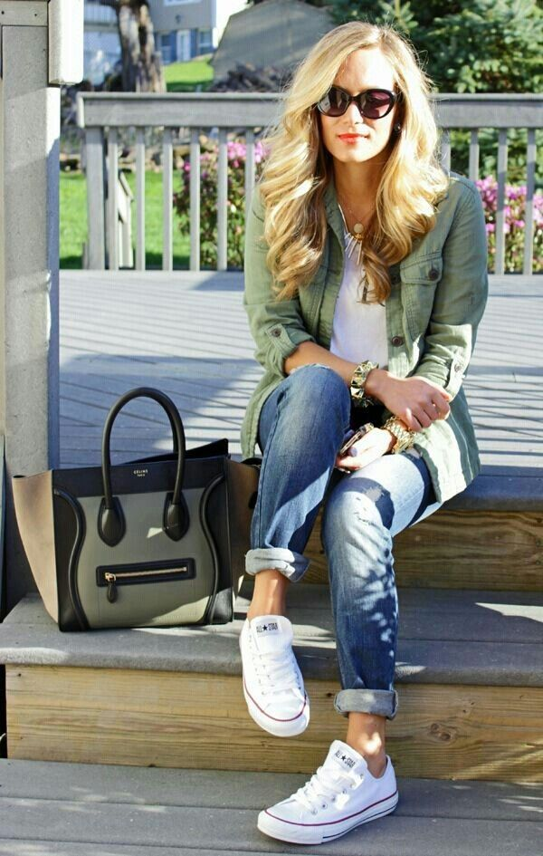 White Sneakers and Light Green Shirt