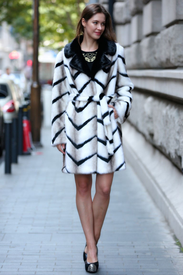 White Striped Faux Fur Coat