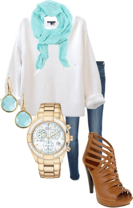 White Sweater and Light Blue Scarf