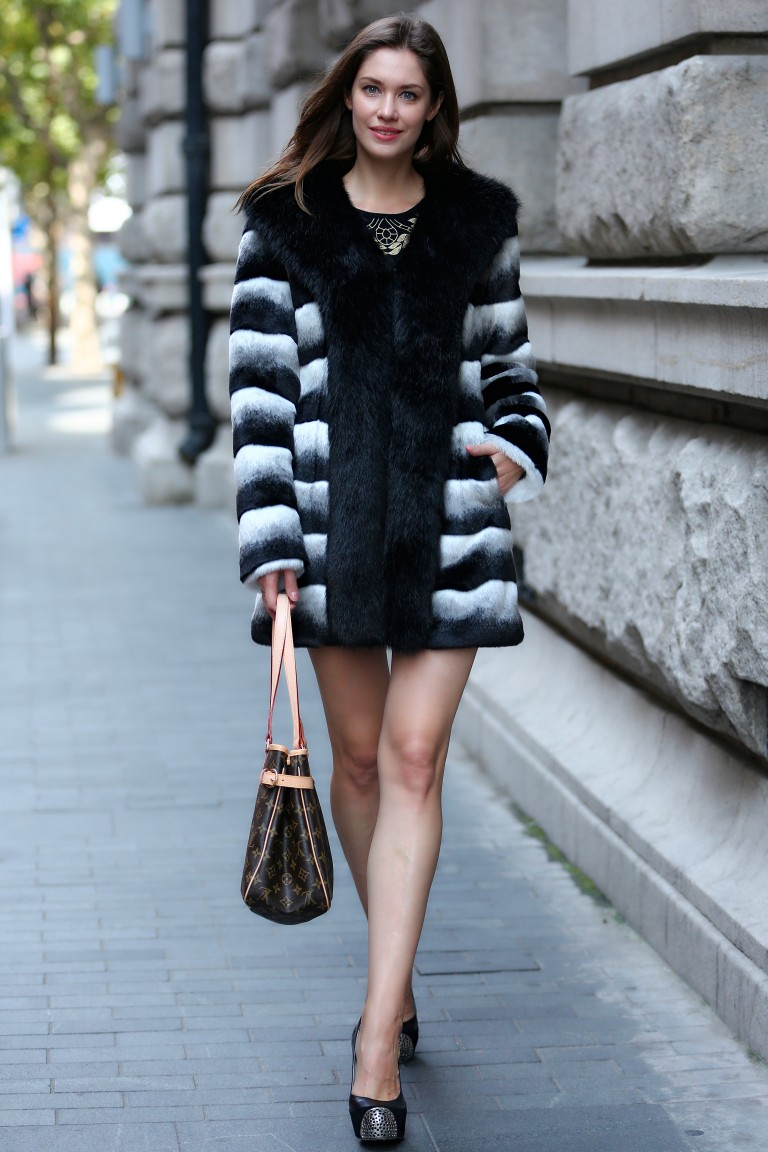 White and Black Faux Fur Coat