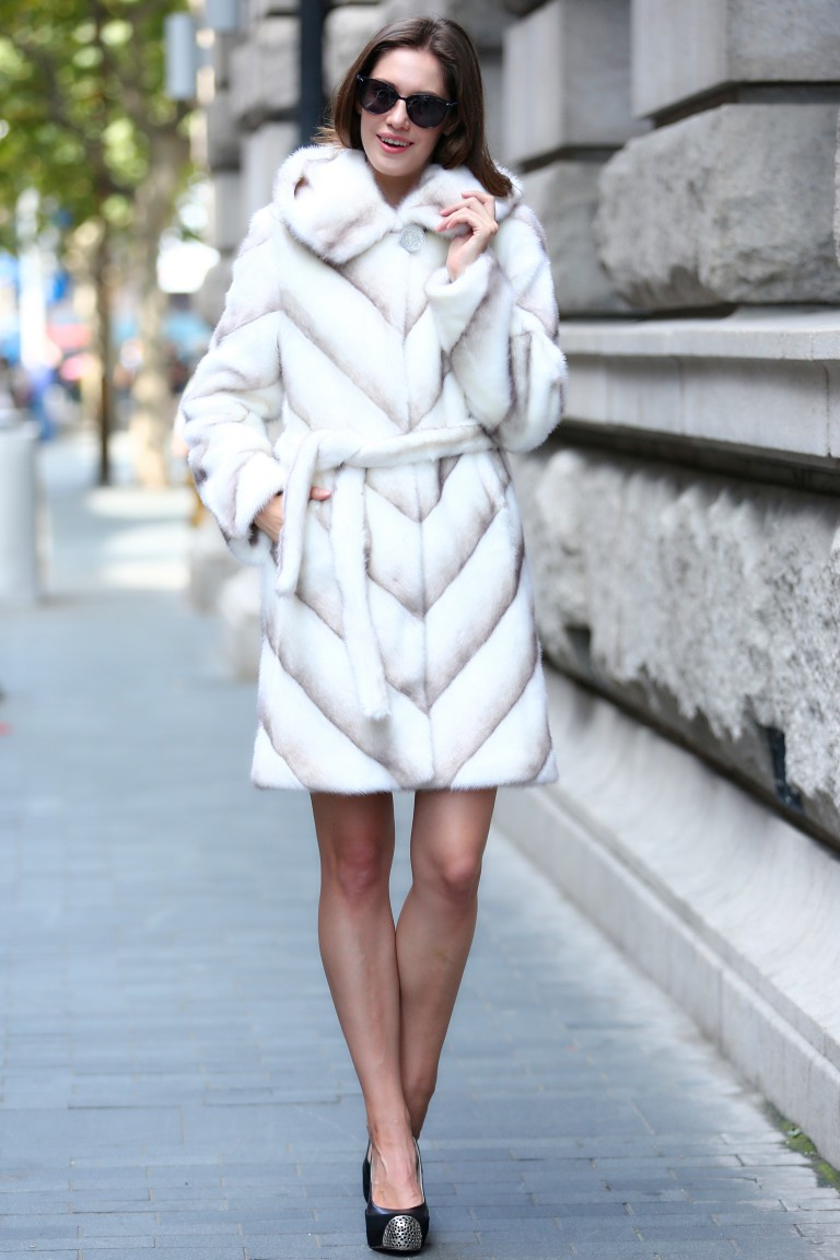 White and Coffee Faux Fur Coat