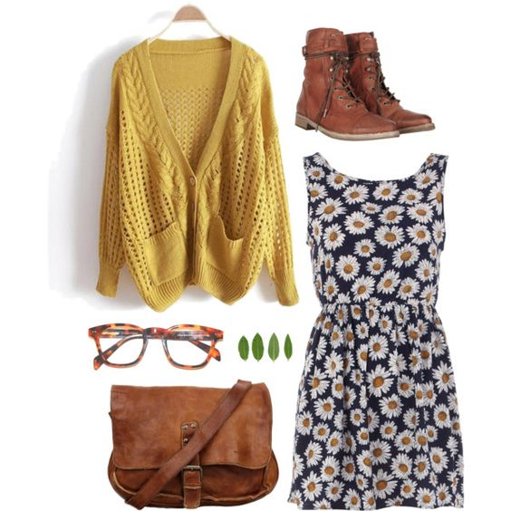 Yellow Cardigan and Floral Dress