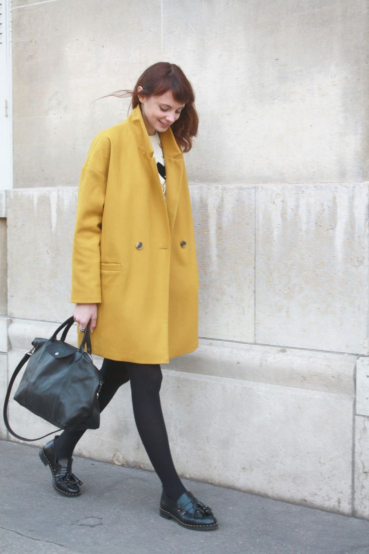Yellow Coat and Black Loafers