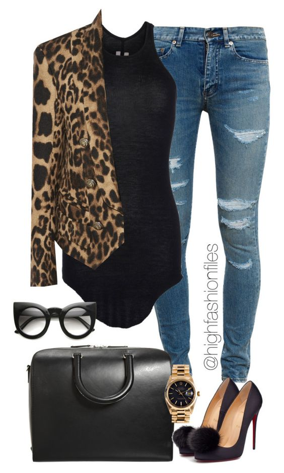 Animal Print Blazer and Jeans