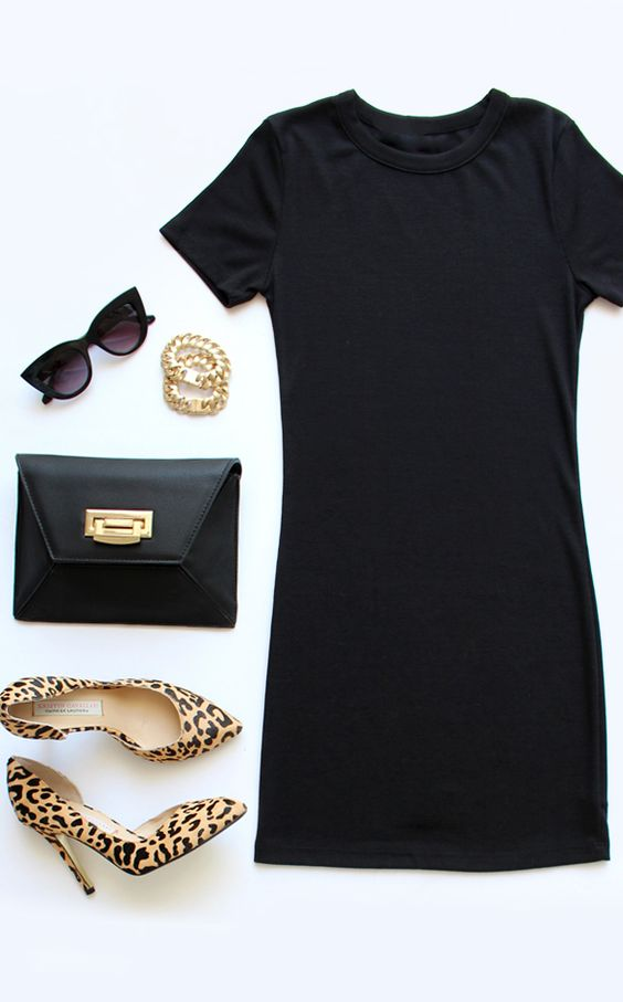Animal Shoes and Black Dress