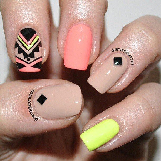 Beige Aztec Nail Design