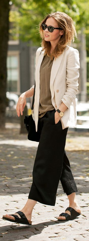 Beige Blazer and Culottes