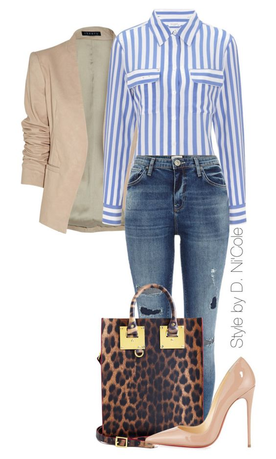 Beige Blazer and Striped Shirt