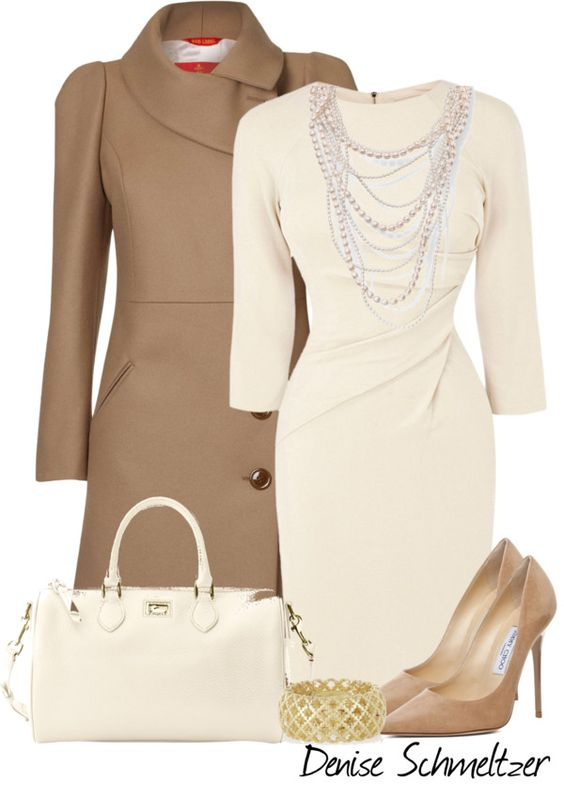Beige Coat and White Dress