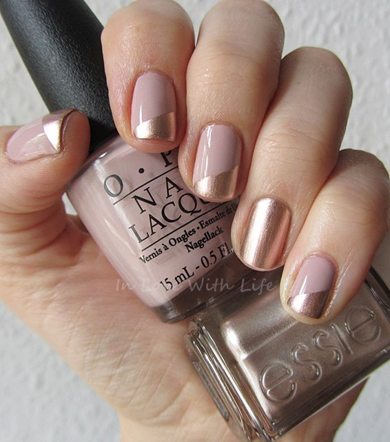 Beige and Gold Nail Design - 22 Beige Nail Designs To Try This Season - Pretty Designs