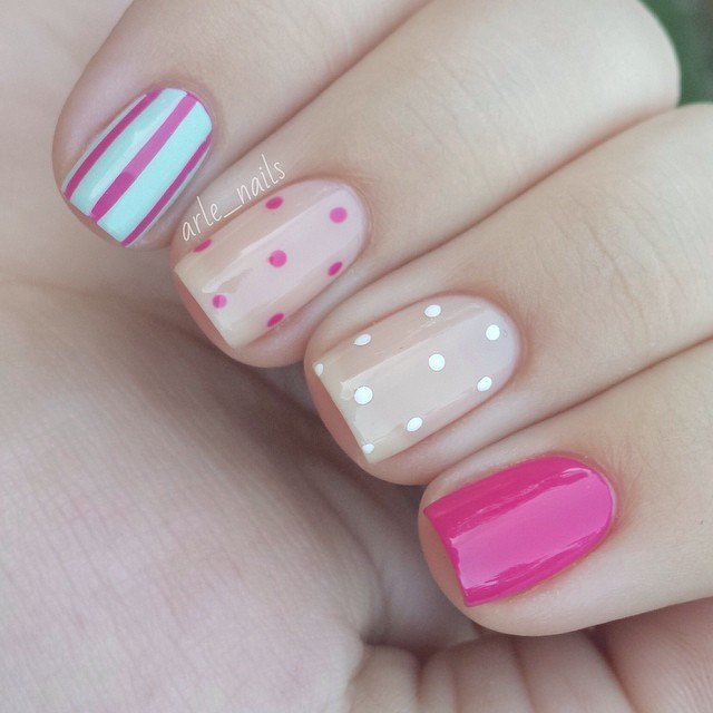 Beige and Pink Nail Design