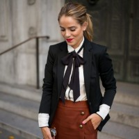 Black Blazer and Brown Skirt