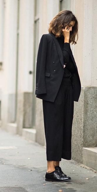 Black Blazer and Culottes