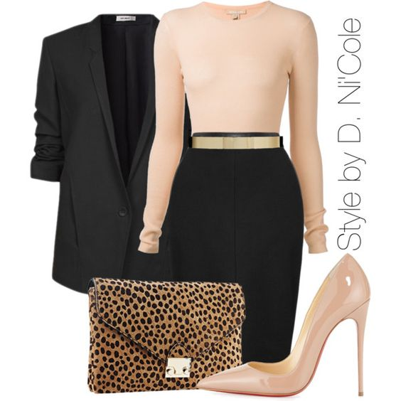 Black Blazer and Pale Pink Pumps