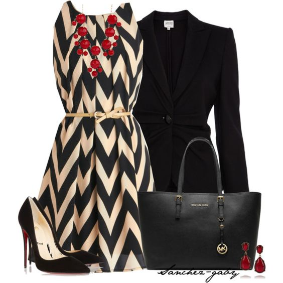 Black Blazer and Print Dress