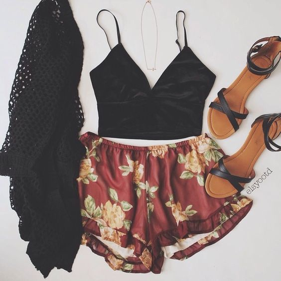 Black Crop Top and Floral Shorts