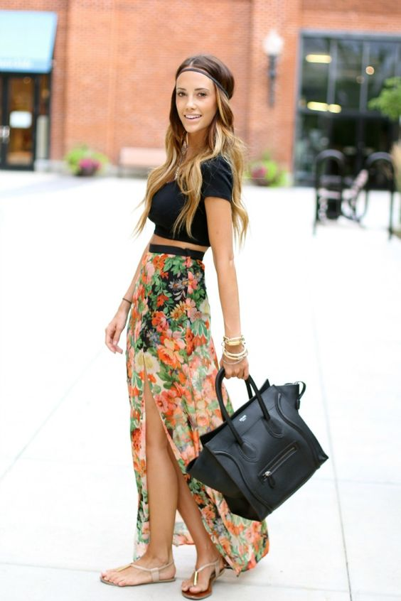 95b9fd2b3e2da9 20 Styles to Wear Crop Tops and Skirts for Summer - Pretty Designs