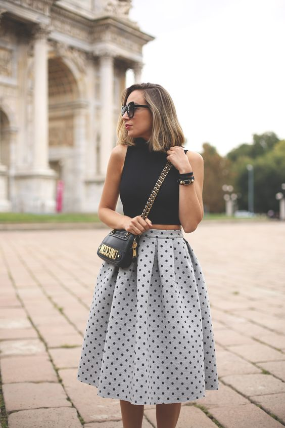 Black Crop Top and Polka Dot Skirt