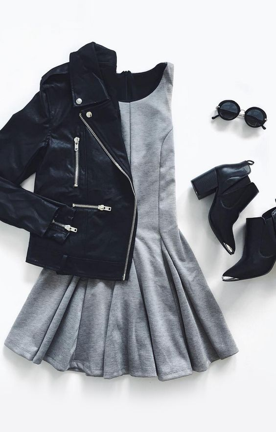 Black Jacket and Grey Dress