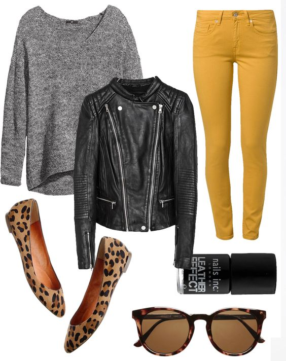 Black Jacket and Yellow Leggings